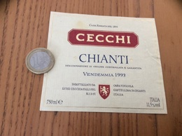 Etiquette Vin Italie 1993 «CHIANTI - CECCHI - IMBOTTIGLIATO DA LUIGI CECCHI & FIGLI - CASTELLINA IN CHIANTI» - Labels