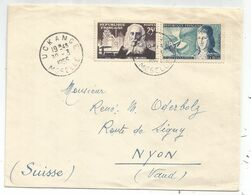 LE BON 5FR +25FR MARTIN  LETTRE UCKANGE 30.3.1955 MOSELLE POUR SUISSE AU TARIF - Marcofilia (sobres)