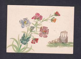 Jolie Carte Entierement Faite à La Main Aquarelle Et Timbres Coupés Fleurs   42920 - Postcards