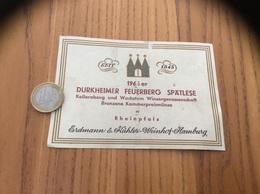 Ancienne Etiquette 1966 Allemagne «DURKHEIMER FEUERBERG SPÄTLESE - Erdmann & Kähler Weinhof - Hamburg» - Other