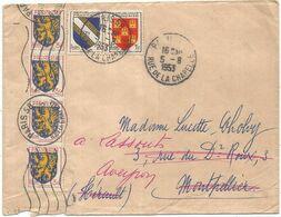 BLASON 3FR FRANCHE COMTE BANDE DE 4+1FR+2FR LETTRE PARIS 5.8.1953 AU TARIF - 1941-66 Stemmi E Stendardi