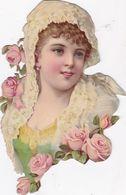 GRAND ET  BEAU DECOUPIS DE JEUNE FEMME ET FLEURS / 20X12 - Victorian Die-cuts