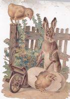 2 TRES JOLIS DECOUPIS AJOURES / LIEVRE ET POUSSIN / 12X8 - Animals