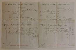 Deux Documents Commerciaux à Entête De La Compagnie Générale Transatlantique - Année 1887 - Ver. Königreich