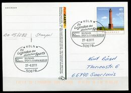 "Germany 2011 PLUSKARTE Leuchtturm Mi.Nr.PSo 103 I Als Stempelbeleg Mit SST""50678 Köln-Olympia Museum.""1 GS Used - Giochi Olimpici"