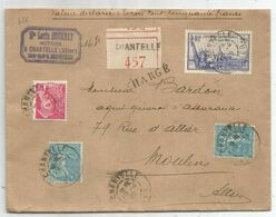 N°426+362X2+406 LETTRE CHARGE 350FR CHANTELLE 19.4.1939 ALLIER POUR MOULINS - Poststempel (Briefe)