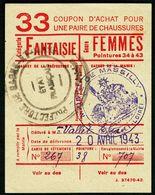 """Coupon D'achat 1943 Massilly ( Saone-et-Loire ) """" Chaussures Fantaisie Pour Femmes  """" Carte Ravitaillement D - Specimen"""