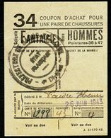 """Coupon D'achat 1943 Cluny ( Saone-et-Loire ) """" Chaussures Fantaisie Pour Hommes  """" Carte Ravitaillement C - Specimen"""
