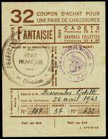 """Coupon D'achat 1943 St.Gengoux ( Saone-et-Loire ) """" Chaussures Fantaisie Pour Cadets  """" Carte Ravitaillement B - Specimen"""