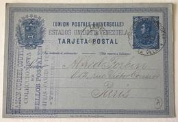 "Venezuela ""LA VELA 1889"" Ramon Curiel Coutiño EARLY STAMP DEALER Postal Stationery 10c>Forbin Paris(marchand De Timbres - Venezuela"