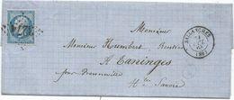 N° 22 GC 3274 TYPE 15 SALLANCHES 31 OCT 1863 LETTRE HAUTE SAVOIE - 1849-1876: Periodo Clásico