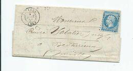 14A Sur Lettre De Estagel Pour Bedarieux 1858 - Marcophilie (Lettres)