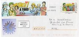 France,lettre Sur Coronavirus, Covid 19, Timbre Collector Et Vignettes. - Sellado Mecánica (Otros)