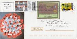 France,lettre Sur Coronavirus, Covid 19, Timbre Croix Rouge, Vignettes Et Spécimen. - Mechanische Stempels (varia)