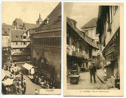 2 CP * COLMAR Beim Kaufhaus Le Kaufhaus ( Magasin Marché ) & Rue De La Maison Rouge ( Animée Homme Balayeur) - Colmar