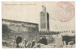 MAROC CARTE COLONNE TADLA + CACHET ROUGE COMPAGNIE DU MAROC CASBAH TADLA 1915 - Cartas