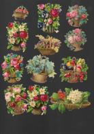 12 Petits Découpis FLEURS ROSES FRUITS Dans Un Panier Osier   7 X 7 CM   Dos Vierge 46 - Flowers