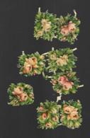 8 Petits Découpis BOUQUET FLEURS ROSES    4 X 3 CM   Dos Vierge 49 - Flowers