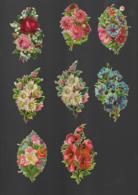 7 Petits Découpis BOUQUET FLEURS ROSES    6 X 8 CM   Dos Vierge Sur Un Décollé 47 - Flowers