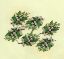 6 Petits Découpis BOUQUET Muguet Plaque   4 X 5 CM   Dos Vierge 51 - Flowers