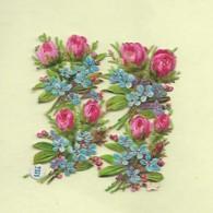 4 Petits Découpis BOUQUET FLEURS ROSES Bleuets    4 X 3 CM   Dos Vierge 50 - Flowers