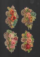4 Découpis FLEURS ROSES Dans Une Charette   12 X 8 CM   Décollés D'un Album 44 - Flowers