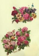 3 Découpis BOUQUET FLEURS ROSES    7 X 12 CM   Dos Vierge 48 - Flowers