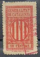 Sello Viñeta Fiscal Municipal BARCELONA Generalitat  10 Cts º - Fiscales