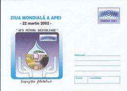 ENVIRONMENT PROTECTION, WORLD DAY OF THE WATER, COVER STATIONERY, ENTIER POSTAL, 2002, ROMANIA - Protección Del Medio Ambiente Y Del Clima