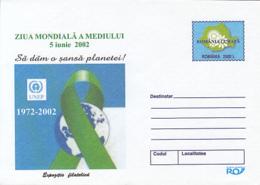 ENVIRONMENT PROTECTION, WORLD DAY OF THE ENVIRONMENT, COVER STATIONERY, ENTIER POSTAL, 2002, ROMANIA - Protección Del Medio Ambiente Y Del Clima