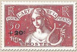 Au Profit Des Chômeurs Intellectuels. Timbre De 1935 (n° 308) +20c. Sur 50c. + 2f. Rge-brique Neuf Luxe ** Y329 - Unused Stamps