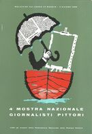 """8889"""" 4a MOSTRA NAZIONALE GIORNALISTI PITTORI-MALCESINE SUL GARDA-1960""""-CARTOLINA POSTALE ORIGINALE NON SPEDITA - Pubblicitari"""