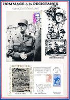 FRANCE - CARTE DE GAULLE OBLI EXPO CH DE GAULLE TROYES 06.94 + ENV. OBLI COMMEM. 40E ANNIV DU PARACHUTAGE DES SAISIES .. - De Gaulle (Général)