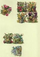 8 Petits Découpis BOUQUET FLEURS Dans Un Arosoir  4 X 4 Cm Dos Vierge 56 - Flowers