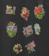 8 Petits Découpis BOUQUET FLEURS  6 X 6 Cm Dos Vierge 57 - Flowers