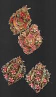 4 Découpis BOUQUET FLEURS Fer à Cheval, Cor, Lyre 5.5 X 5 Cm Dos Vierge 53 - Flowers