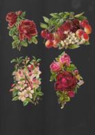 4 Découpis BOUQUET FLEURS FRUITS  8 X 6 Cm Dos Vierge 58 - Flowers