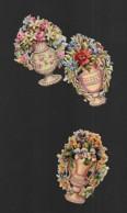 3 Petits Découpis BOUQUET FLEURS Dans Un Vase 5.5 X 4 Cm Dos Vierge 54 - Flowers