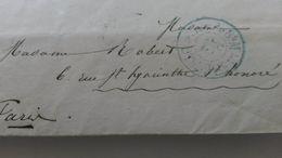 LAC De Paris à Paris Taxe 15c En Bleu Type 2507 Bureau Central K  Distribution De 8H Du Matin - Marcophilie (Lettres)