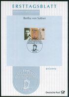 BRD - 2005 ETB 40/2005 - Mi 2495 - 55C  Bertha Von Suttner - FDC: Hojas