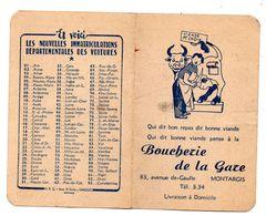 Calendrier Montargis Boucherie De La Gare 1954 - Calendari