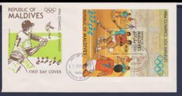Maldives FDC 1984 Los Angeles Olympic Games Souvenir Sheet - Baseball (G114-58) - Sommer 1984: Los Angeles