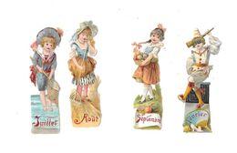 11741- Lot De 4 Découpis, Enfants,mois Février, Juillet,aout,septembre - Children