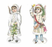 Lot De 2 Découpis, Enfants Ange, Paillettes, Jouets, Neige - Children