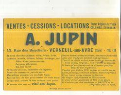Buvard Ventes, Cessions, Locations, A. Jupin, Verneuil Sur Avre (Eure) - V