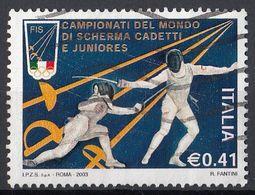 """Italia 2003 Uf. 2716 """"Campionati Mondiali Di Scherma. Trapani""""  Viaggiato Used - Scherma"""