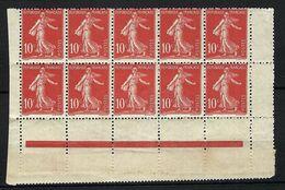 FRANCE 1906: Bloc De 10 CDF Du 134 Neuf* - 1906-38 Semeuse Camée