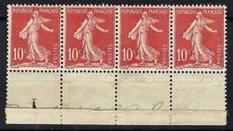 FRANCE 1906: Bande De 4 BDF Du 134 Neuf* - 1906-38 Semeuse Camée