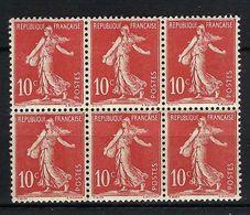 FRANCE 1906: Bloc De 6 Du 134 Neuf* - 1906-38 Semeuse Camée