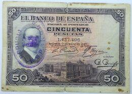 Billete 1927. 50 Pesetas. Rey Alfonso XIII. Resello II República, Guerra Civil. Madrid, España. Sin Serie. MBC - 50 Pesetas